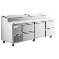 Avantco SSPPT-3J 93 inch 1 Door Refrigerated Pizza Prep Table with 4 Drawers