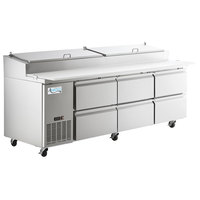 Avantco SSPPT-3H 93 inch 6 Drawer Refrigerated Pizza Prep Table