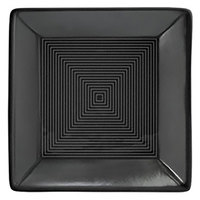 Front of the House DBO008BKP23 Spiral Ink 10 oz. Semi-Matte Black Square Porcelain Bowl - 12/Case