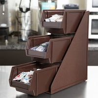 Vollrath 4842-01 Traex® Brown Self-Serve Condiment Bin Stand Set with 3-Tier Stand and 8 inch Condiment Bins