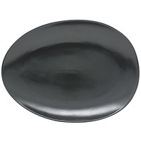 Front of the House DOS030BKP20 Tides 12 inch x 8 3/4 inch Semi-Matte Mussel Oval Porcelain Coupe Plate - 2/Case