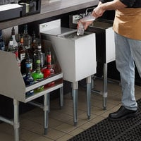 Regency 18 inch x 12 inch Stainless Steel Underbar Ice Bin with Sliding Lid and Bottle Holders