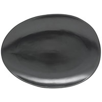 Front of the House SPT055BKP20 Tides 14 1/2 inch x 10 1/2 inch Semi-Matte Mussel Oval Porcelain Coupe Platter - 2/Case