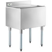"Regency 18"" x 24"" Stainless Steel Underbar Ice Bin with Sliding Lid and Bottle Holders - 77 lb."