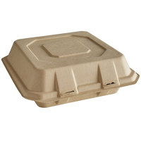 Tellus Products 9 inch x 9 inch Natural Bagasse Clamshell Container - 200/Case