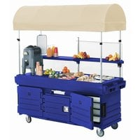 Cambro KVC854C186 CamKiosk Navy Blue Vending Cart with 4 Pan Wells and Canopy