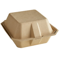 Tellus Products 6 inch x 6 inch Natural Bagasse Clamshell Container - 400/Case