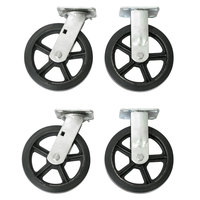 Wesco Industrial Products 272203 8 inch x 2 inch 2200 lb. Capacity Moldon Rubber on Cast Iron Hub Swivel and Rigid Caster Set for Platform Truck   - 4/Set
