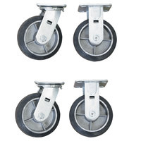 Wesco Industrial Products 273612 6 inch x 2 inch 2000 lb. Capacity Moldon Rubber on Aluminum Hub Swivel and Rigid Caster Set for Platform Truck   - 4/Set
