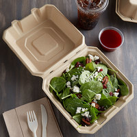 Tellus Products TE25F 8 inch x 8 inch Natural Bagasse Clamshell Container - 50/Case
