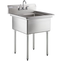 "Steelton 30"" 18-Gauge Stainless Steel One Compartment Commercial Sink with Faucet - 24"" x 24"" x 12"" Bowl"
