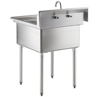 Steelton 30 inch 18-Gauge Stainless Steel One Compartment Commercial Sink with Faucet - 24 inch x 24 inch x 12 inch Bowl