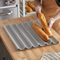 Baker's Mark 6 Loaf Glazed Aluminum Baguette / French Bread Pan - 26 inch x 2 7/16 inch x 1 inch Compartments