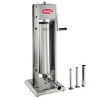 Avantco SS-15V 15 lb. Stainless Steel Vertical Manual Sausage Stuffer with 1/2 inch, 3/4 inch, 1 1/4 inch, and 1 1/2 inch Stainless Steel Funnels