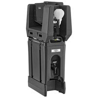 Cambro 2.5 Gallon Black Portable Handwash Station with Soap and Multi Fold Paper Towel Dispenser and Riser
