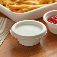 Eco Products EP-SPCLID2 2 oz. White Compostable Sugarcane Portion Cup Lid - 50/Pack