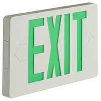 Lavex Industrial Slim Green LED Exit Sign with Battery Backup - 1.1W Unit