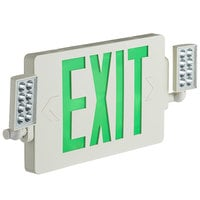 Lavex Industrial Slim Green LED Exit Sign / Emergency Light Combination with Battery Backup - 2W Unit