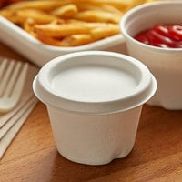 Eco Products EP-SPCLID4 4 oz. White Compostable Sugarcane Portion Cup Lid - 50/Pack