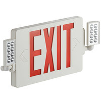 Lavex Industrial Slim Red LED Exit Sign / Emergency Light Combination with Battery Backup - 2W Unit