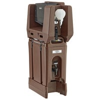 Cambro 2.5 Gallon Dark Brown Portable Handwash Station with Soap and Multi Fold Paper Towel Dispenser and Riser