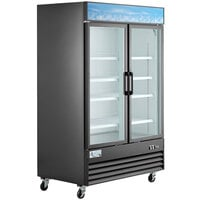 "Avantco GDC-49F-HC 53 1/8"" Black Swing Glass Door Merchandiser Freezer with LED Lighting"
