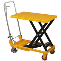 Wesco Industrial Products 260201 17 3/4 inch x 27 1/2 inch Folding Handle Scissor Lift Table with 28 1/2 inch Lift Height - 330 lb. Capacity