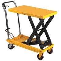 Wesco Industrial Products 260200 19 1/2 inch x 32 inch Fixed Handle Scissor Lift Table with 35 inch Lift Height - 1000 lb. Capacity