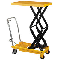 Wesco Industrial Products 260204 19 1/2 inch x 35 1/2 inch Fixed Handle High Scissor Lift Table with 51 inch Lift Height - 770 lb. Capacity