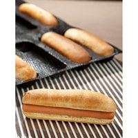 Sasa Demarle Flexipan® Air SF-00004 18 Compartment Hot Dog Bun Silicone Bread Mold - 6 inch x 1 inch Cavities