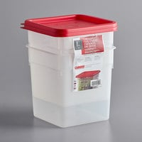 Cambro 8SFSPPSW2190 CamSquares 8 Qt. Translucent Square Food Storage Container with Red Gradations and Lid - 2/Pack