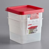 Cambro 6SFSPPSW2190 CamSquares 6 Qt. Translucent Square Food Storage Container with Red Gradations and Lid - 2/Pack