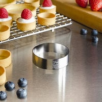 Fat Daddio's SSRD-2075 ProSeries 2 inch x 3/4 inch Stainless Steel Round Tartlet Ring / Food Ring Mold