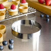 Fat Daddio's SSRD-3575 ProSeries 3 1/2 inch x 3/4 inch Stainless Steel Round Tartlet Ring / Food Ring Mold