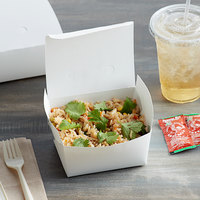 Fold-Pak 01BPDINEWM Bio-Pak Dine 5 inch x 4 1/2 inch x 2 1/2 inch White Microwavable Paper #1 Take-Out Container - 40/Pack