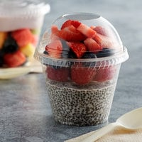 Fabri-Kal Greenware 9 oz. Compostable Clear Plastic Parfait Cup with 4 oz. Insert and Dome Lid - 100/Pack
