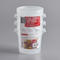 Cambro RFS1PPSW3190 1 Qt. Translucent Round Food Storage Container with Red Gradations and Lid - 3/Pack
