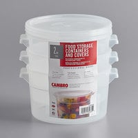 Cambro RFS2PPSW3190 2 Qt. Translucent Round Food Storage Container with Red Gradations and Lid - 3/Pack