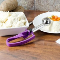 Vollrath 47378 #40 Purple Extended Length Squeeze Handle Disher - 0.72 oz
