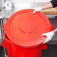 Continental 4445RD Huskee 44 Gallon Red Round Trash Can Lid