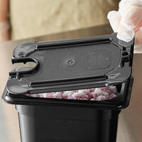 Vigor 1/9 Size Black Polycarbonate Food Pan Lid with Notch