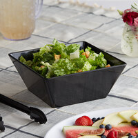 Acopa Rittenhouse 112 oz. Square Black Melamine Bowl - 12/Case