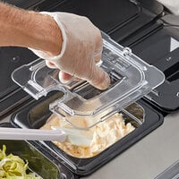 Vigor 1/6 Size Clear Polycarbonate Food Pan Lid with Notch and Handle