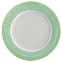 Corona by GET Enterprises PA1603902912 Calypso 12 1/4 inch Bright White Porcelain Rolled Edge Plate with Green and Yellow Rim   - 12/Case