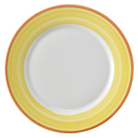 Corona by GET Enterprises PA1600902724 Calypso 10 5/8 inch Bright White Porcelain Rolled Edge Plate with Yellow and Coral Rim   - 24/Case