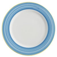 Corona by GET Enterprises PA1601902912 Calypso 12 1/4 inch Bright White Porcelain Rolled Edge Plate with Blue and Yellow Rim   - 12/Case