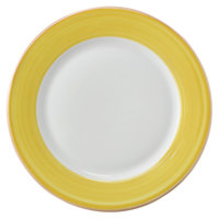 Corona by GET Enterprises PA1600902324 Calypso 9 inch Bright White Porcelain Rolled Edge Plate with Yellow and Coral Rim   - 24/Case