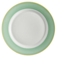 Corona by GET Enterprises PA1603902524 Calypso 10 inch Bright White Porcelain Rolled Edge Plate with Green and Yellow Rim   - 24/Case