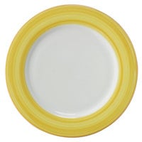 Corona by GET Enterprises PA1600902912 Calypso 12 1/4 inch Bright White Porcelain Rolled Edge Plate with Yellow and Coral Rim   - 12/Case