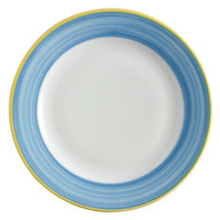 Corona by GET Enterprises PA1601902524 Calypso 10 inch Bright White Porcelain Rolled Edge Plate with Blue and Yellow Rim   - 24/Case
